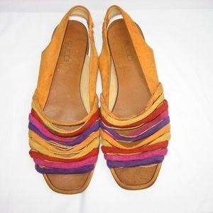 GUCCI Multi-color Suede Flat Sandals, EU 6.5